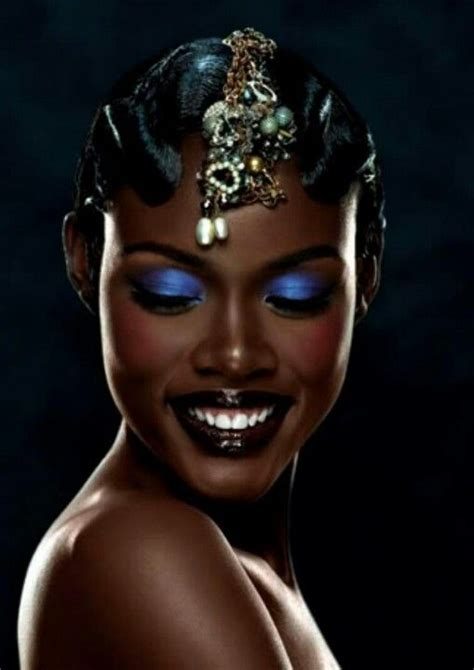 what is the old blacklady thatshape adorno love the blue eyeshadow on dark skin deep skin