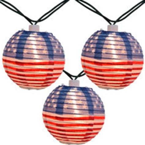 Americana 4th Of July Lantern String Lights 10 Lights Patriotic String Lights