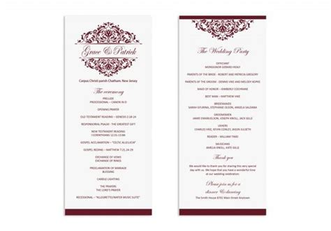 wedding program template printable wedding program