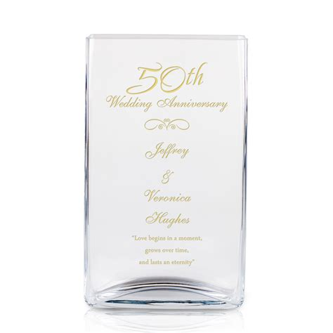 Vases Engraved by 50th Wedding Anniversary Engraved Rectangular Glass Vase