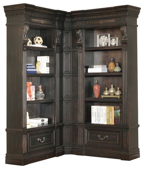 corner bookcase black palazzo 3 corner museum bookcase burnished black traditional bookcases by warehouse