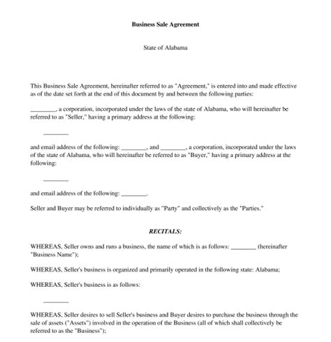 business sale agreement free template word and pdf