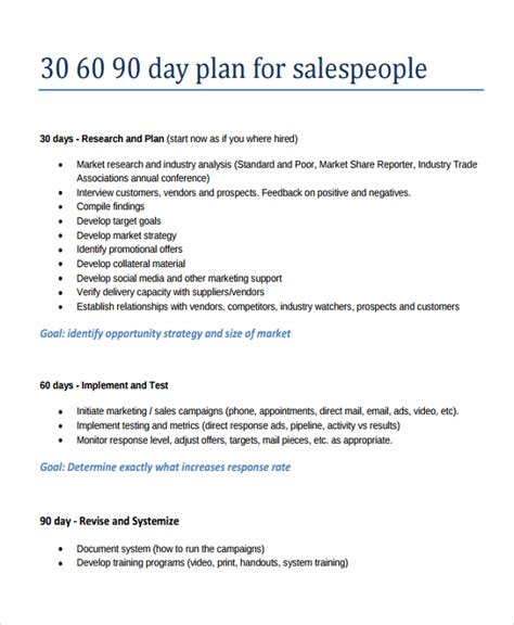 30 60 90 business plan template 20 30 60 90 day action