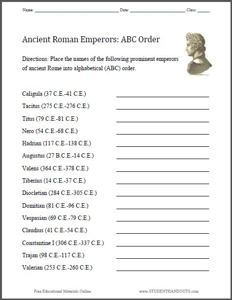 ancient rome worksheets abc ancient emperors worksheet student handouts