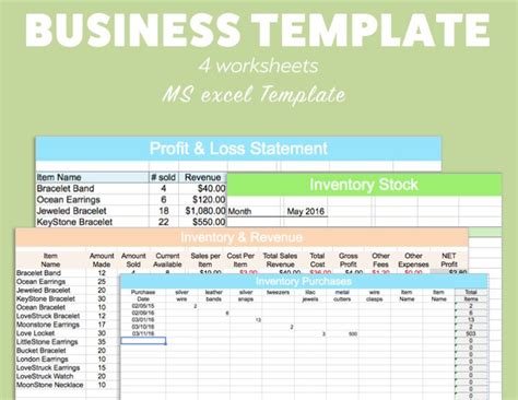 Business Excel Template Profit Loss Inventory Expense Revenue Business Income And Expenses Excel Template