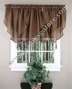 Chocolate Curtains With Valance Reverie Tassel Valance Chocolate Lorraine Kitchen Valances