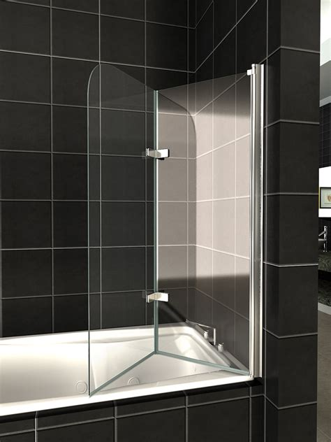 glass bath shower screen glass bath shower door panel folding screen 1400 seal ebay