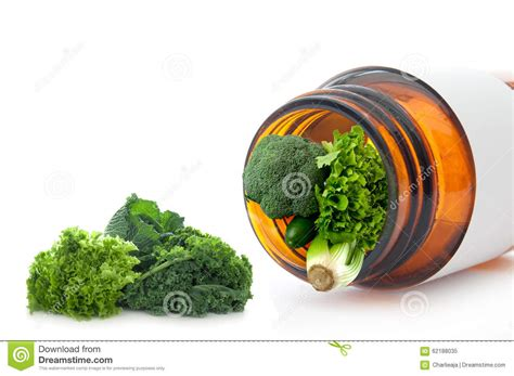 Detox With Green Vegetables by Vitamin Pill Concept Stock Photo Image 62188035