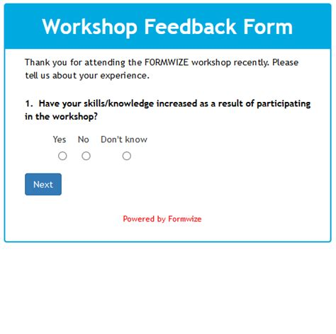 workshop feedback form template formwize exles