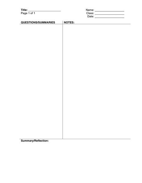 cornell notes template for word in word and pdf formats