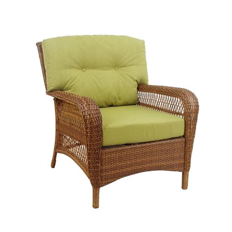 Martha Stewart Living Patio Furniture Cushions Martha Stewart Living Charlottetown Brown All Weather Wicker Patio Lounge Chair With Green Bean