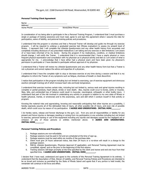 client agreement form template 10 best images of personal agreement form