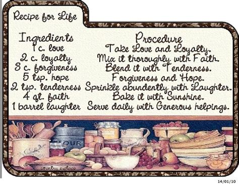 recipe for life a little bit of encouragement