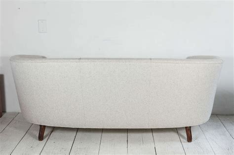 oval back curved sofa in linen at 1stdibs