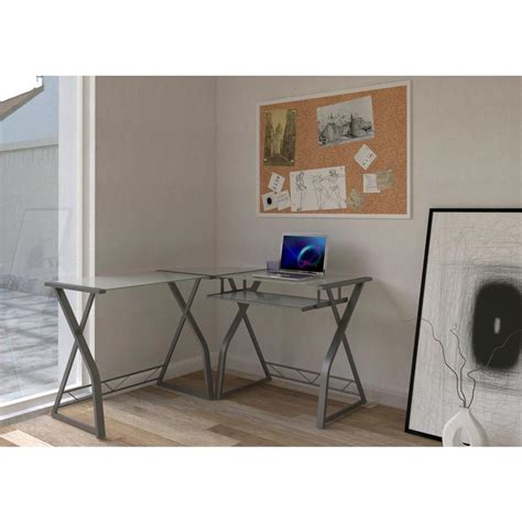 add keyboard tray to glass desk home styles barnside gray desk with shelves 5053 15 the