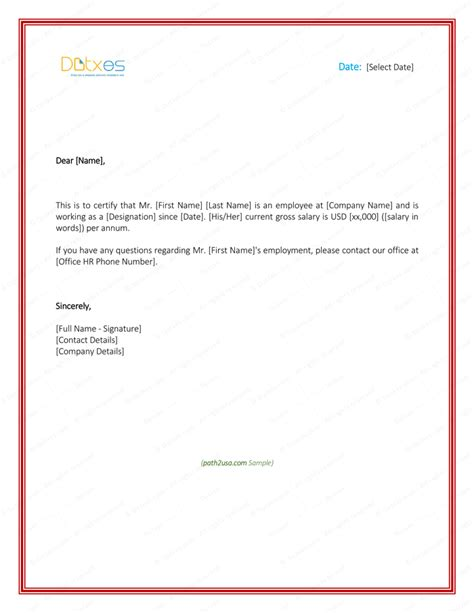 Us Visa Letter From Employer Employment Verification Letter 4 Printable Formats Sles