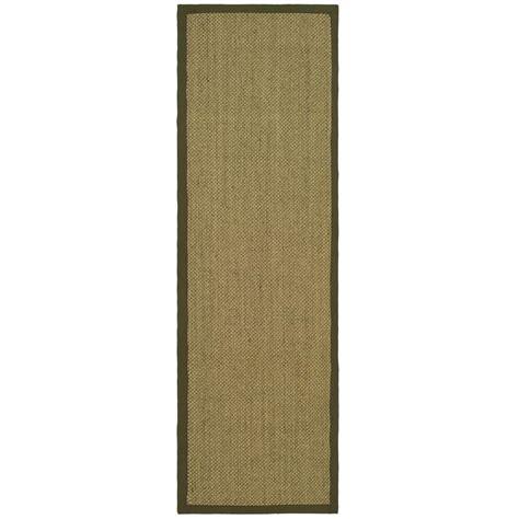 16 ft runner rug safavieh fiber beige green 2 ft 6 in x 16 ft runner nf443c 216 the home depot