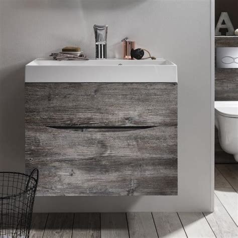 Bath Vanities And Cabinets Bauhaus Glide Ii Driftwood 700mm Bathroom Vanity Unit And