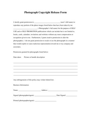 23 Printable Photograph Copyright Release Form Templates Fillable Sles In Pdf Word To Photo Copyright Release Form Template