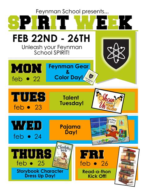 Feynman School Spirit Week Feynman School Free Spirit Week Flyer Template
