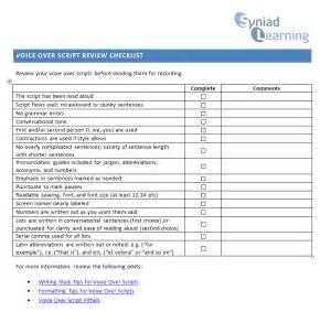 voice over script review checklist experiencing e learning