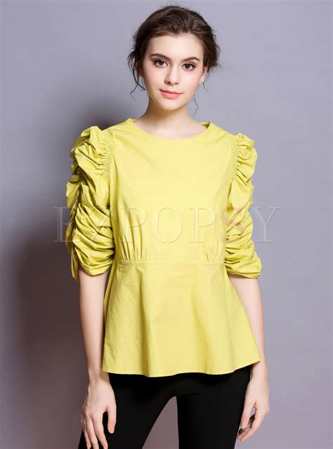 Puff Sleeve Pullover yellow slim puff sleeve pullover blouse ezpopsy