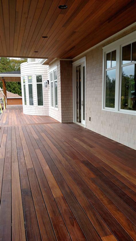 mahogany decking applied  penofin exotic hardwood