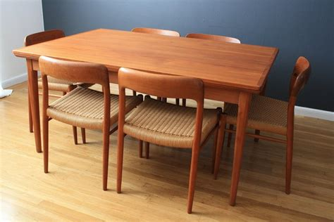 Teak Dining Room Furniture Modern Teak Dining Table With Leaves At 1stdibs