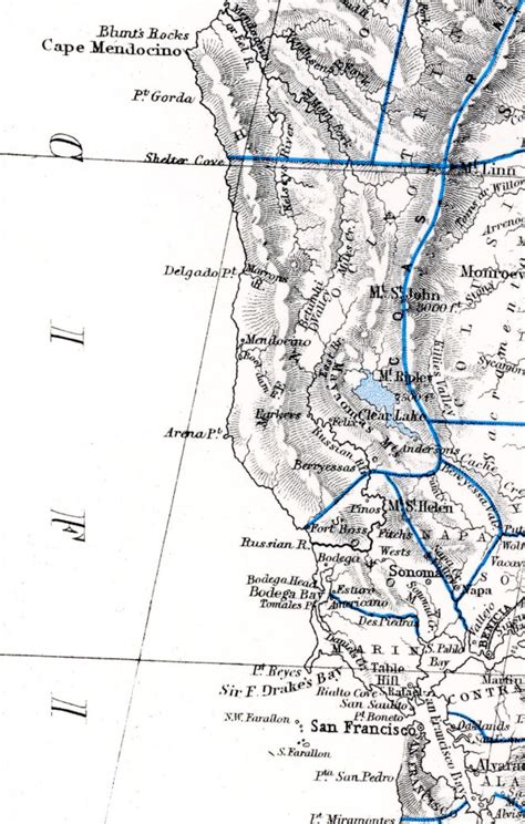 Coast Section by 1857 Map Of California With Detail Of The Mendocino Coast
