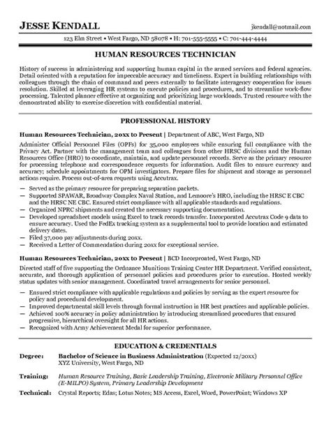 Resume Sles For Human Services Exle Human Resources Technician Resume Free Sle