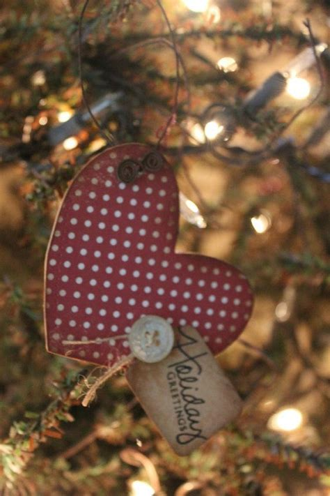 handmade primitive heart christmas ornament quot holiday