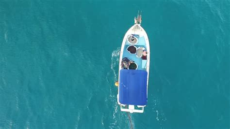 fishing boat top view fishing boat on the sea top view from drone royalty free