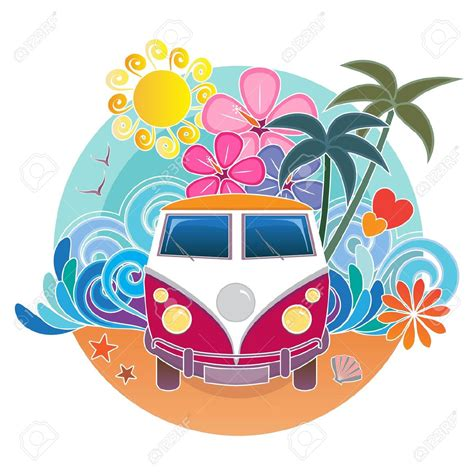 volkswagen hippie van clipart retro van stock vector illustration and royalty free retro