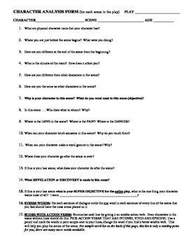 theatre / drama character scene analysis form by mike