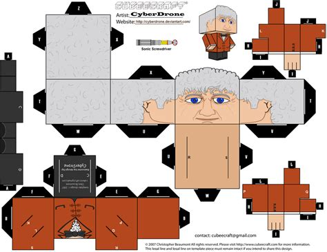 Custom Papercraft - cubee the 3rd doctor by cyberdrone on deviantart