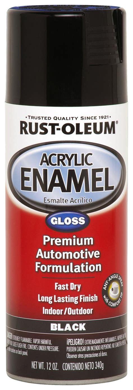 rust oleum paint acrylic enamel gloss black 12 oz aerosol ea 248643