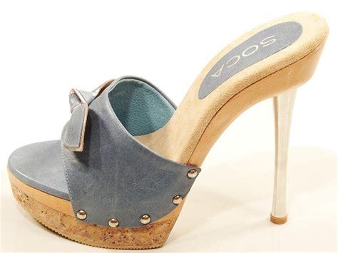 high heel slide womens soca elsa high heel wood cork platform slides