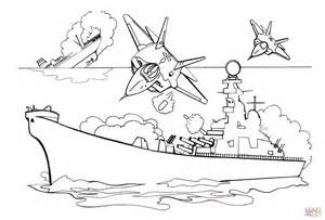 attacking battleship with bombs coloring page free