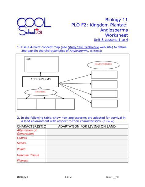 biology  plo  kingdom plantae angiosperms worksheet