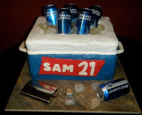 Cooler cake with beer cans for 21st birthday (1 comment)