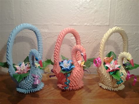 Origami Basket - how to make 3d origami swan basket