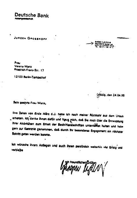 deutsche bank kundennummer w 252 rdigung f 252 r richard weizs 228 cker