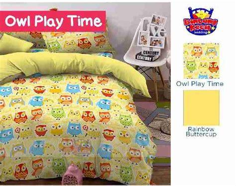 Grosir Dan Ecer Bedcover Owl 120 X 200 Murah detail produk sprei dan bedcover owl play kuning toko bunda