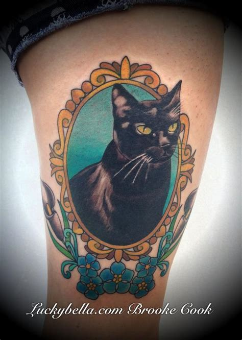neo trad cat tattoo traditional cat portrait by brooke cook tattoos
