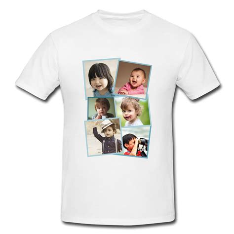 customised white poly cotton t shirt with 6 picture collage print