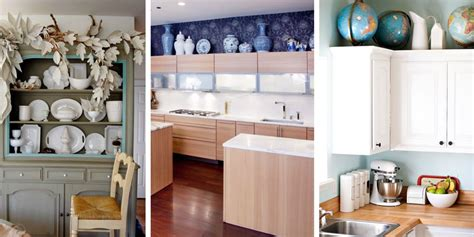 space decor ideas for decorating space above cabinets in kitchen