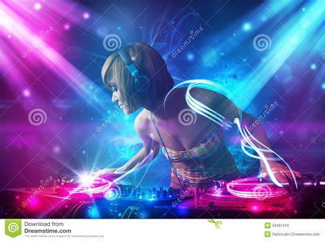 music video lighting effects dj mixing music with powerful light effects stock