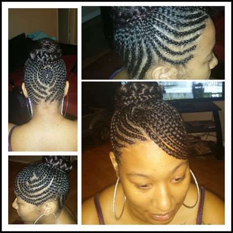 african american braids with bangs swoop bang updo with braided bun cute cornrows