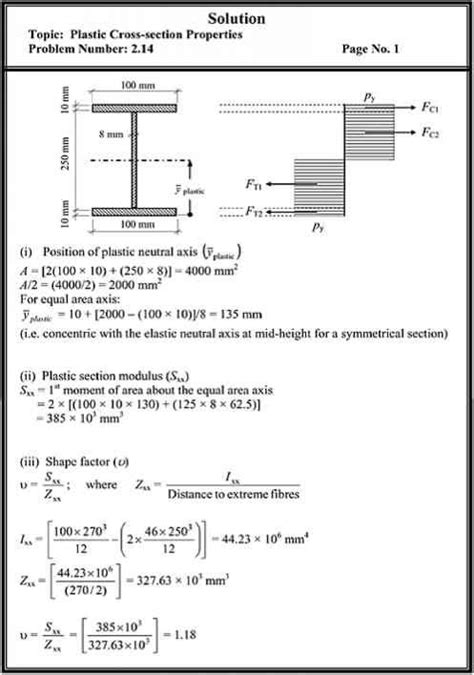 plastic section modulus i beam problems plastic crosssection properties structural analysis