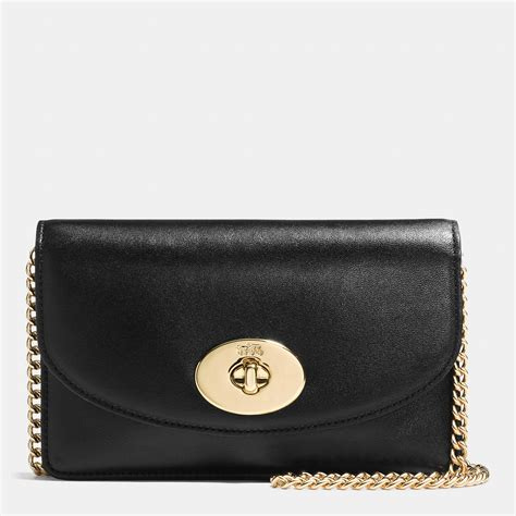 Clucth Coach lyst coach clutch chain wallet in smooth leather in metallic